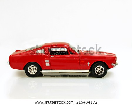 Castellon,Spain.September 5,2014.Close up picture of a classic car (miniature), Ford Mustang - stock photo