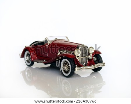 Castellon,Spain.September 20,2014 Collectible toy car over white background,Duesenberg J. Spider - stock photo