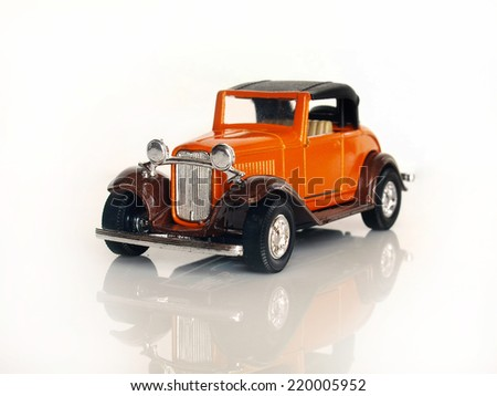 Castellon,Spain.September 27,2014.Small toy car over white background - stock photo