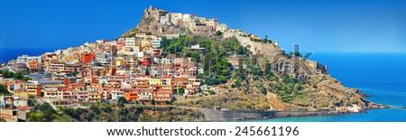 Castelsardo -panorama, medieval coastal town in Sardinia, Italy - stock photo