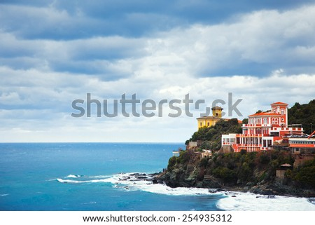 Castiglioncello landmark on cliff rock and sea in winter. Tuscany, Italy, Europe - stock photo