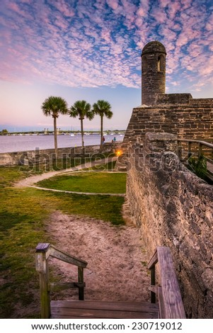 Castillo de San Marcos at sunset, in St. Augustine, Florida. - stock photo