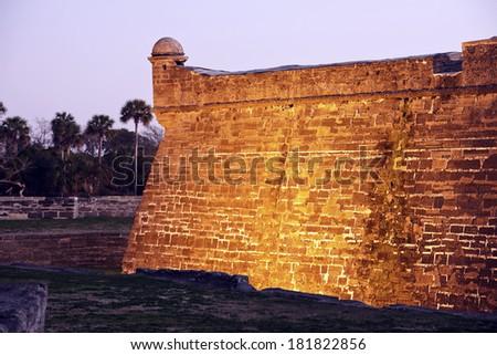 Castillo de San Marcos in St. Augustine at sunrise - stock photo