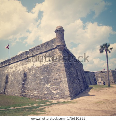 Castillo de San Marcos in St. Augustine, Florida, USA with retro effect - stock photo