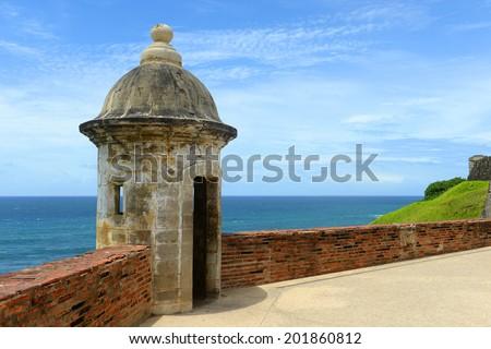 Castillo San Felipe del Morro El Morro Sentry Box, San Juan, Puerto Rico. Castillo San Felipe del Morro is designated as UNESCO World Heritage Site since 1983. - stock photo