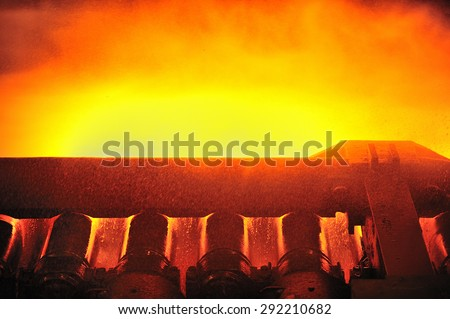 casting, the part of steel production at steel mill - stock photo