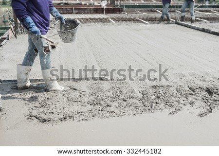 casting to concrete cement work. moisture control step of the building construction - stock photo