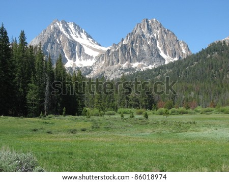 Castle and Merriam Peaks in the White Cloud Mountains in Idaho - stock photo