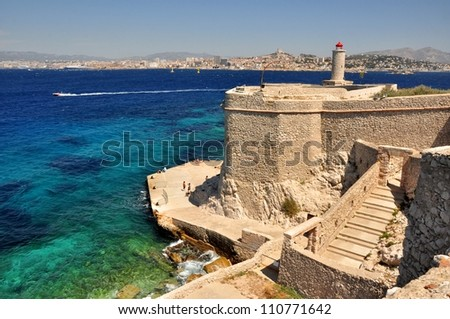 """Castle and prison """"Chateau d�f"""" in Marseille, France - stock photo"""