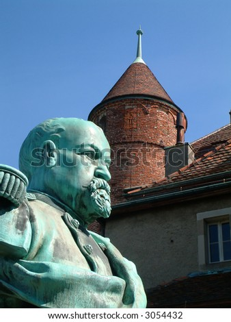 castle and statue in Lausanne Switzerland - stock photo
