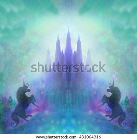 Castle and Unicorn - stock photo