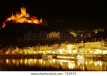 Castle at Cochem on Rhine River, Germany - stock photo