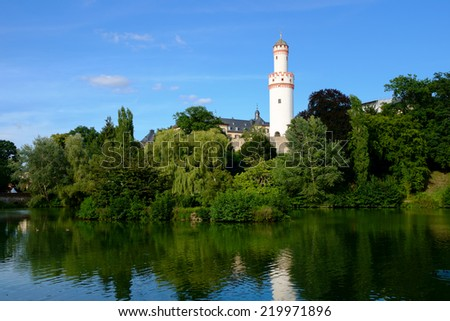 Castle Bad Homburg and watchtower reflecting in pond, Hessen, Germany - stock photo