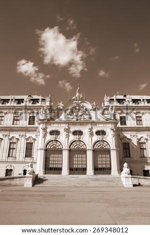 Castle Belvedere in Vienna, Austria. Sepia tone - retro monochrome color style. - stock photo