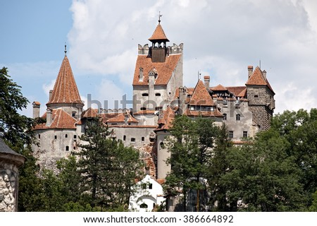 castle Bran of Dracula summer panorama view, Romania - stock photo