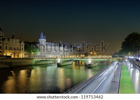 Castle Conciergerie and bridge of Change.