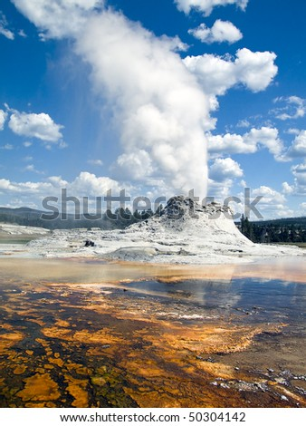 Castle Geyser erupts in the Upper Geyser Basin of Yellowstone National Park not far from Old Faithful. - stock photo
