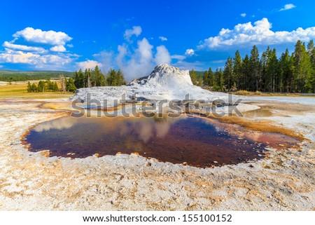 Castle Geyser, Yellowstone National Park (Upper Geyser Basin), Wyoming - stock photo