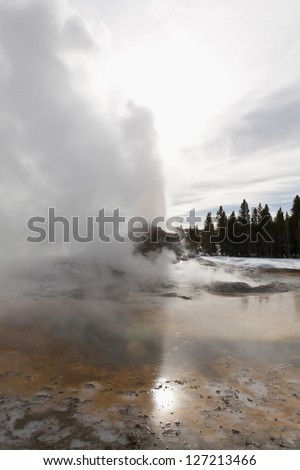 Castle Geyser, Yellowstone National Park, WY - stock photo