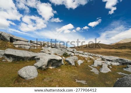 Castle Hill, Arthur's Pass National Park, New Zealand - stock photo
