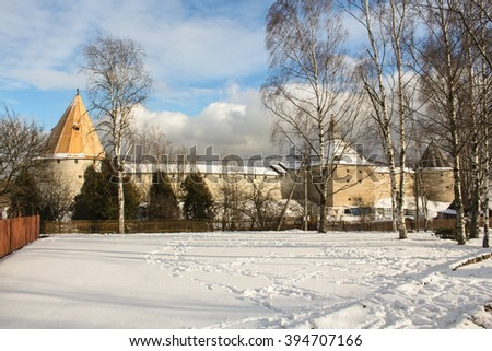 Castle illuminated by the sun in Staraya Ladoga. Staraya Ladoga, Russia - 23 February, 2016. Tourist places in the great ancient route from the Vikings to the Greeks.Staraya Ladoga fortress.