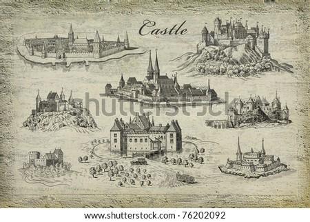 Castle illustration - stock photo