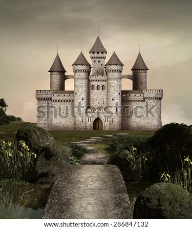 Castle in an enchanted garden - stock photo