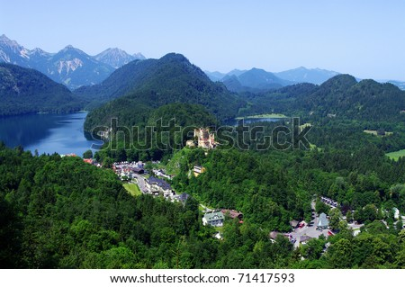 Castle in Bavarian Alps, Germany, Europe - stock photo