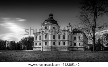 Castle in Czech town Kravare black and white