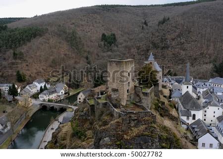 Castle in Esch sur Sure - stock photo