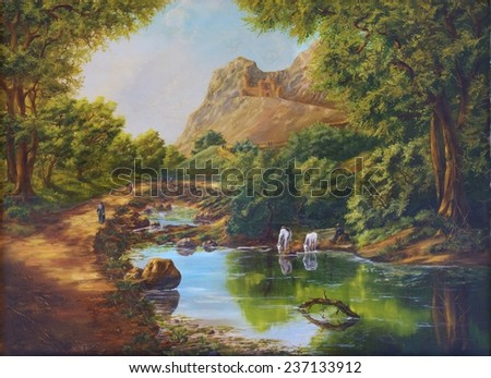 Castle in mountains and horses. Painting oil canvas. Sergey Voevodin 1997. On the surface cracks (flute) - stock photo