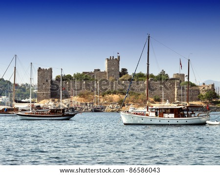 Castle in the town of Bodrum Turkey - stock photo