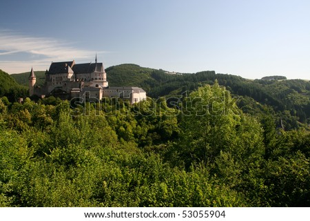 Castle in Vianden, Luxembourg on a summers morning - stock photo