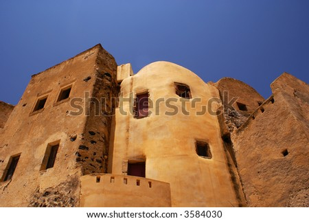 Castle in village Emporio on Santorini island, Greece - stock photo