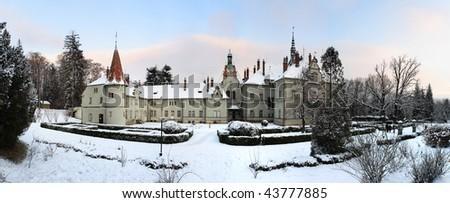 castle in winter, Transcarpathian region, Ukraine - stock photo