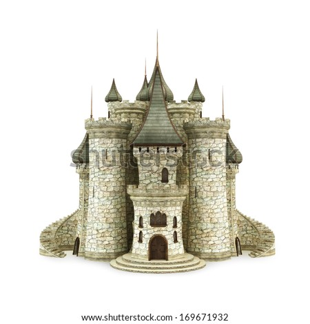 Castle, isolated on the white background  - stock photo