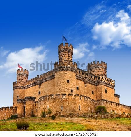 Castle  Manzanares el Real, Madrid ,Spain  - stock photo