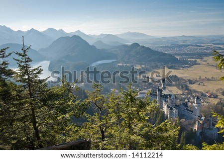 Castle Neuschwanstein and mountain landscape. Bavaria, Germany. - stock photo