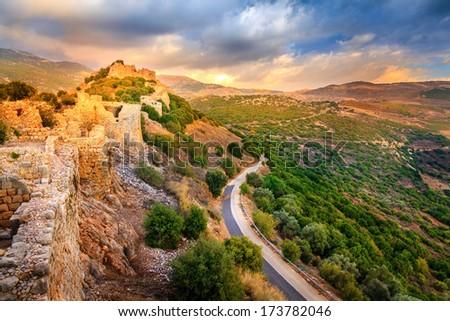 Castle Nimrod in Israel - stock photo