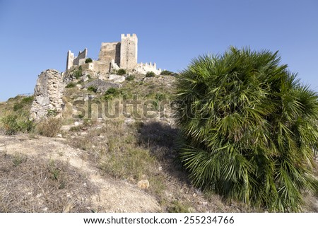 Castle of Alcala de Xivert, Castellon, Valencian community, Spain - stock photo