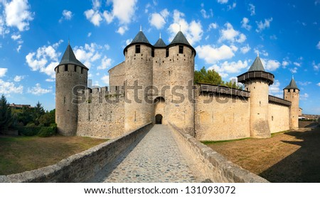 Castle of Carcassonne France - stock photo