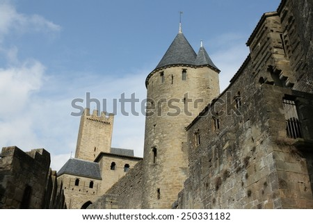 Castle of Carcassonne in Aude, Languedoc region of france.