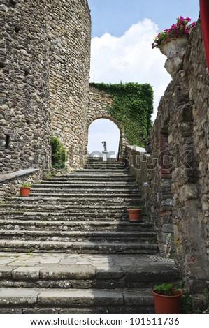 Castle of Compiano. Emilia-Romagna. Italy. - stock photo