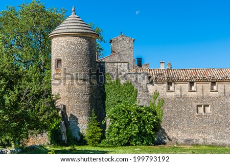 Castle of Javon with its round tower in France.