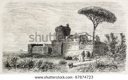 Castle of Julius II old view, Ostia Antica, Rome surroundings. Created by Anastasi, published on L'Illustration, Journal Universel, Paris, 1860 - stock photo
