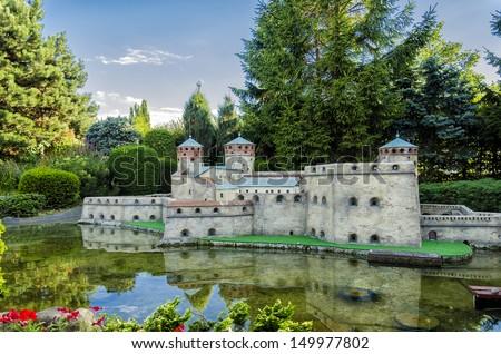Castle of Olavinlinna of Finland in Mini Europe. - stock photo