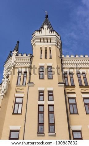 """Castle of """"Richard the Lionheart"""" (1904) is one of the most known buildings of Andriyivsky Uzviz in Kiev. House designed in English Neo-Gothic style and looks like medieval. Kiev, Ukraine, Europe - stock photo"""