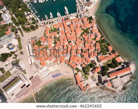 Castle of St Mary, fortification of old town of Budva city. Aerial shot from drone. Adriatic sea, Montenegro, Europe