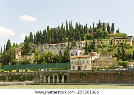Castle of St. Peter, in Verona - a fortress, standing on a high hill overlooking the River Adige and the entire city.