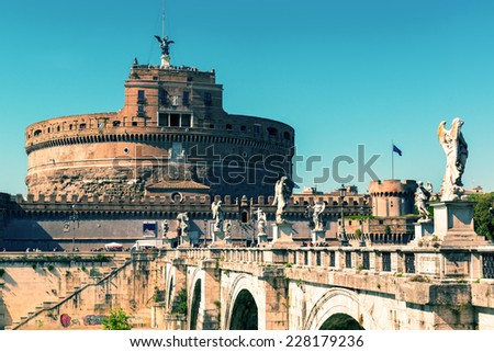 Castle of the Holy Angel (Castel Sant`Angelo) in Rome, Italy. Vintage photo. - stock photo